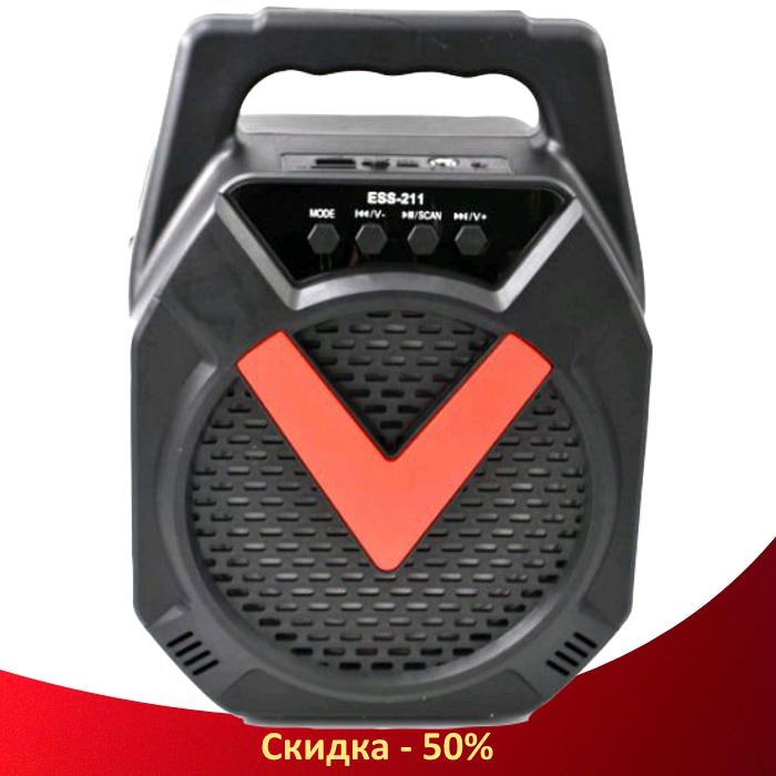 Портативна колонка валізу ESS-211 - бездротова Bluetooth колонка зі світломузикою, USB SD AUX FM радіо