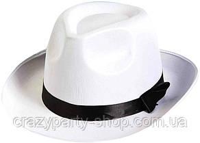 Карнавальная мужская шляпа  белая гангстерская б/у