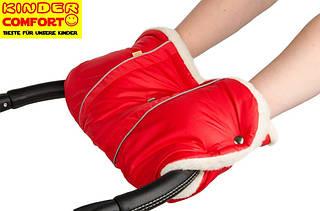 Муфта на овчине для коляски и санок, с кнопками (Красный), Kinder Comfort