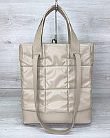Жіноча сумка «Руки» бежева стьобана, фото 1