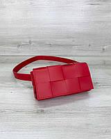 Женская сумка клатч на пояс «Энди» плетеная красная, фото 1