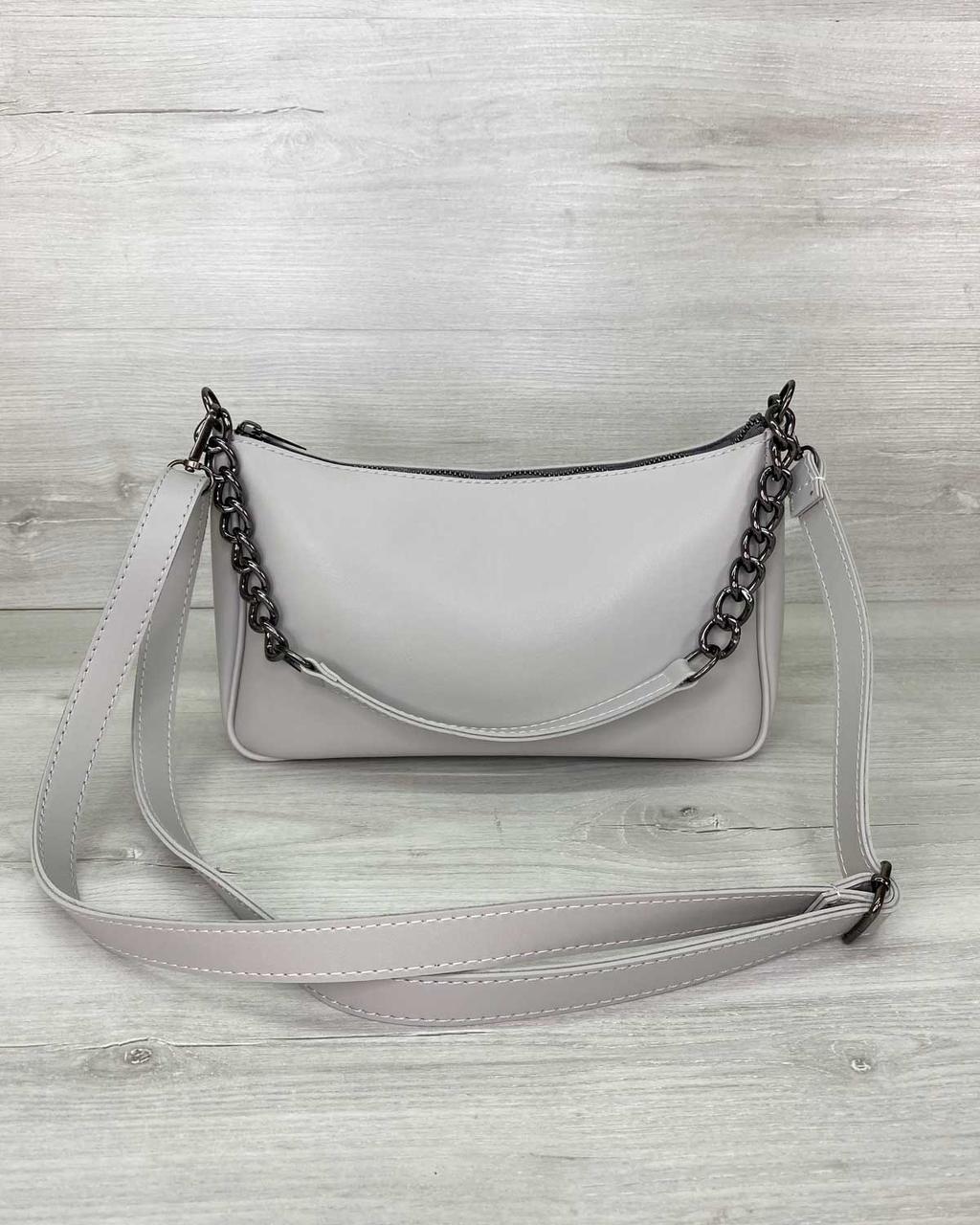 Стильная женская сумка клатч, стильный клатч, женская сумочка «Луна» серая