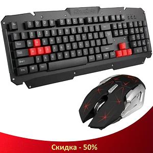 Бездротова ігрова клавіатура з мишкою UKC HK-6700 - Бездротовий ігровий комплект клавіатура і миша для ПК
