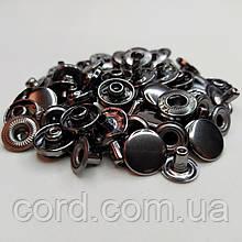 Кнопка Альфа для одежды 12.5 мм. Кнопка № 54. Упаковка (100шт.) Блек Никель (Тёмное серебро).
