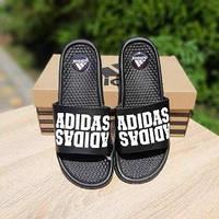 Мужские летние шлепки в стиле Adidas черные двойная надпись массажные