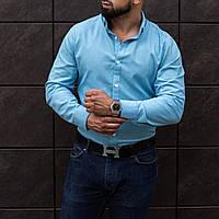 Классическая мужская рубашка голубая из льна S M L XL XXL