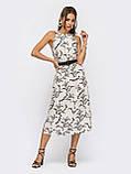 Бежеву сукню-міді з принтом ЛІТО, фото 2