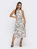Бежеву сукню-міді з принтом ЛІТО, фото 3