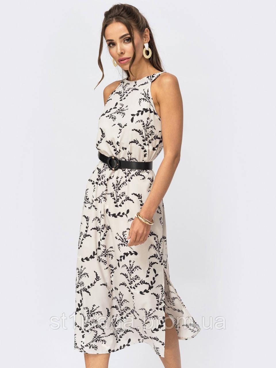 Бежевое платье-миди с принтом  ЛЕТО