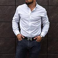 Стильная классическая мужская белая рубашка из льна S M L XL XXL