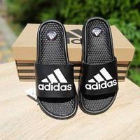 Мужские летние шлепки в стиле Adidas черные с белым массажные