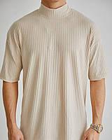 Чоловіча футболка бежева під горло, фото 1