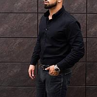 Чёрная мужская классическая рубашка из льна S M L XL XXL