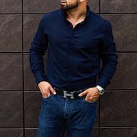 Мужская синяя классическая рубашка из льна S M L XL XXL
