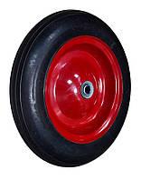 """Колесо с металлическим диском на литой резине для тачки 14"""", ось 16х60 мм"""