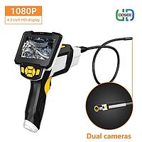 Эндоскоп с экраном и двойной камерой мини камера жесткий кабель 10 метров технический бороскоп для телефона D3