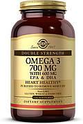 Двойная Сила Омега-3, Double Strength Omega-3, Solgar, 700 мг, 30 желатиновых капсул