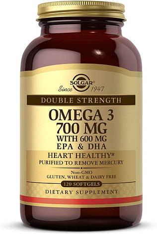Двойная Сила Омега-3, Double Strength Omega-3, Solgar, 700 мг, 30 желатиновых капсул, фото 2