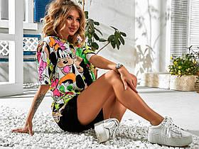 Турецкая футболка женская дисней, Турецкие котоновые женские футболки с принтом, Женская футболка Турция