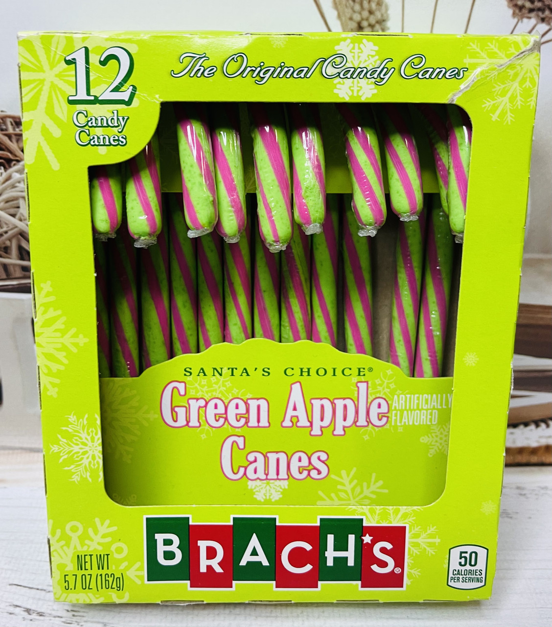 Конфеты тросточки Candy Canes зеленое яблоко