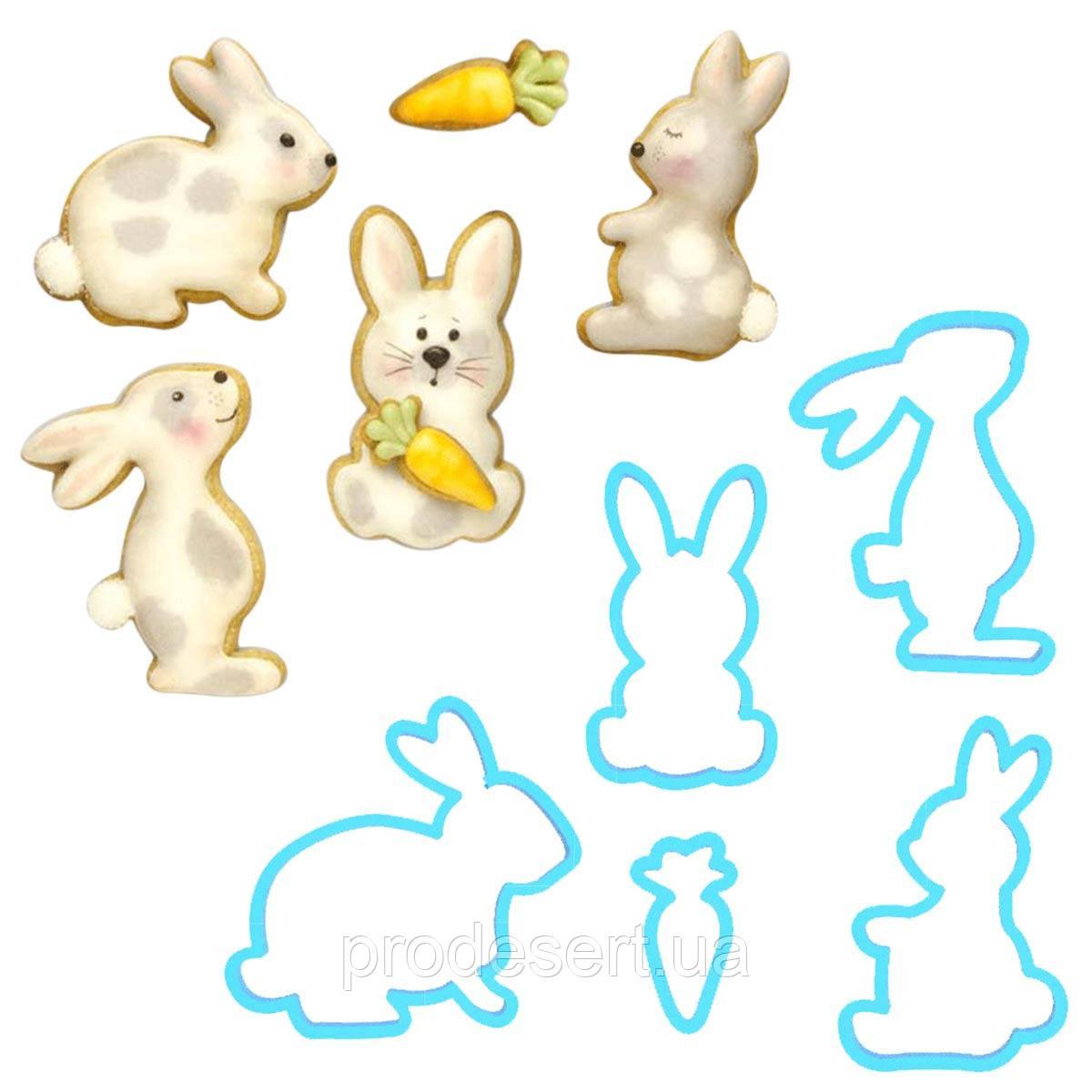 Набор вырубок Пасхальные Кролики 6 см и морковка 3 см 5 шт (3D)