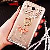 """Чохол зі стразами з кільцем прозорий протиударний TPU для Sony Xperia Z1 Compact D5503 """"ROYALER"""", фото 10"""