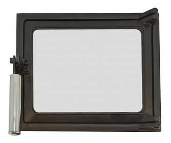 Топкові дверцята для печі зі склом 230х275мм, чавунна дверка пічна з ефектом холодної ручки 102861х