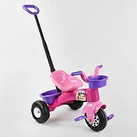 Детский трехколесный велосипед для ребенка с удобным сиденьем и родительской ручкой Pilsan 07-137 цвет розовый