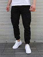 Чёрные мужские  брюки-джоггеры с накладными карманами  S,M,L,XL