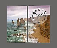 Модульная картина с часами из двух частей Берег ( море, скалы, пляж ) 80*70 см Код: 801.2к.87