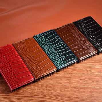 """Чохол книжка з натуральної преміум шкіри протиударний магнітний для Sony Xperia XA2 H4113 """"CROCODILE"""""""