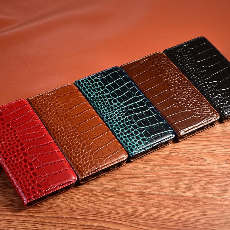 """Чехол книжка из натуральной премиум кожи противоударный магнитный для Sony Xperia 1 J9110 """"CROCODILE"""""""