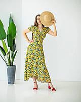 Летнее платье на запах желтое, фото 1