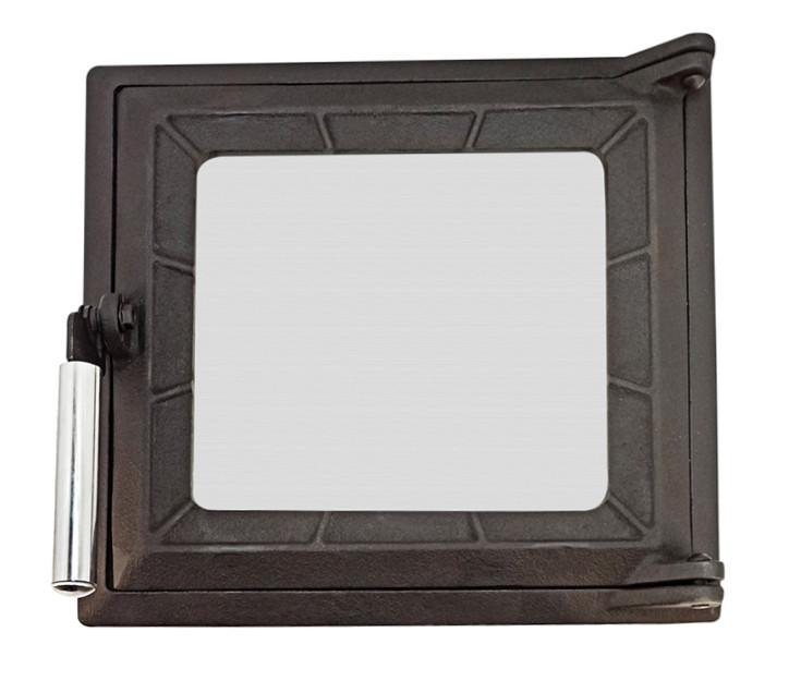 Топочная дверца для печи и камина со стеклом 290х320 мм, чугунная печная, каминная дверка 102862х