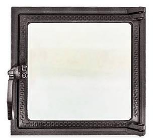 Топкові дверцята для печі і каміна зі склом 270х290 мм, чавунна грубна, камінна дверцята 102868