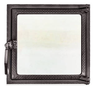 Топочная дверца для печи и камина со стеклом 270х290 мм, чугунная печная, каминная дверка 102868