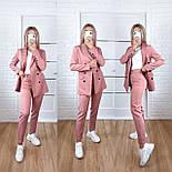 Жіночий стильний брючний костюм з жакетом і брюками в кольорах (Норма), фото 10