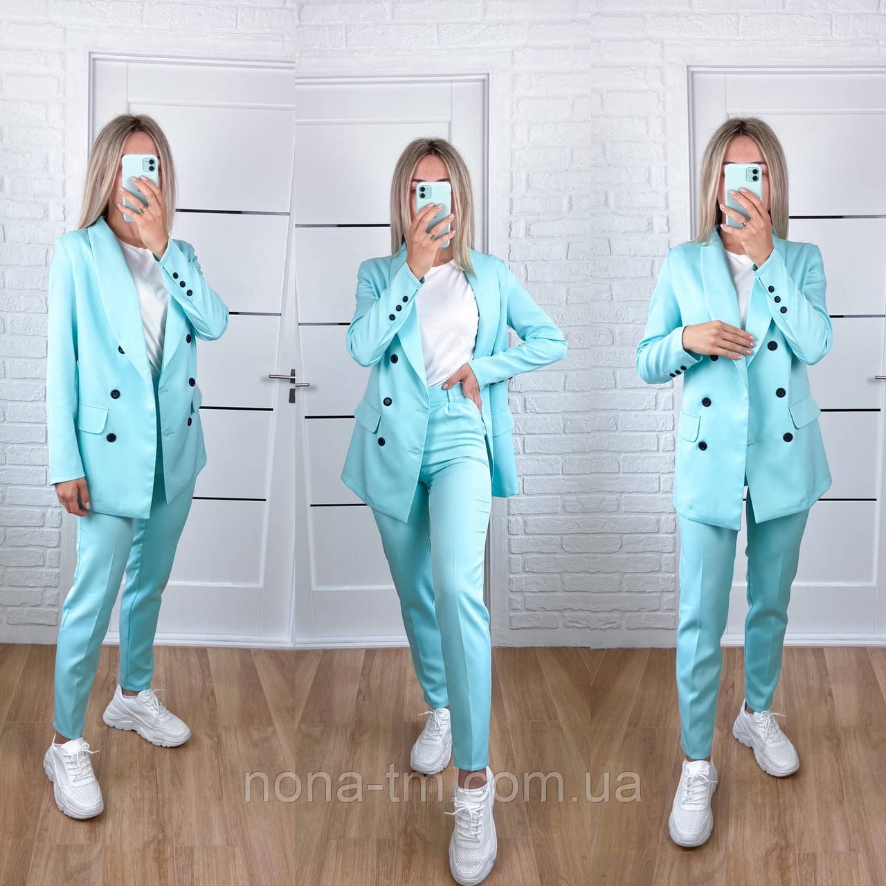Стильний жіночий брючний костюм з жакетом і брюками 17 забарвлень (Норма)