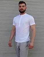 Мужская белая рубашка из льна S M L XL XXL