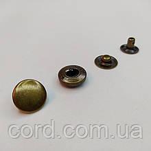 Кнопка Альфа для одежды (Кошелёк) 10,5 мм. Кнопка VT-2. Упаковка (25 шт.)Антик (Латунь).