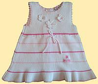 Детский сарафан вязаный, белый, р. 1,2, 3 года