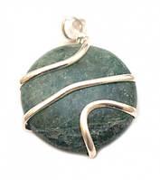 """Кулон из натурального камня """"Шайба + спираль"""" d=3см. Зелёный авантюрин"""
