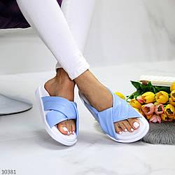 Кожаные голубые шлепанцы женские шлепки натуральная кожа в ассортименте