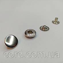 Кнопка Альфа для одежды (Кошелёк) 10,5 мм. Кнопка VT-2. Упаковка (25шт.)Никель (Серебро).