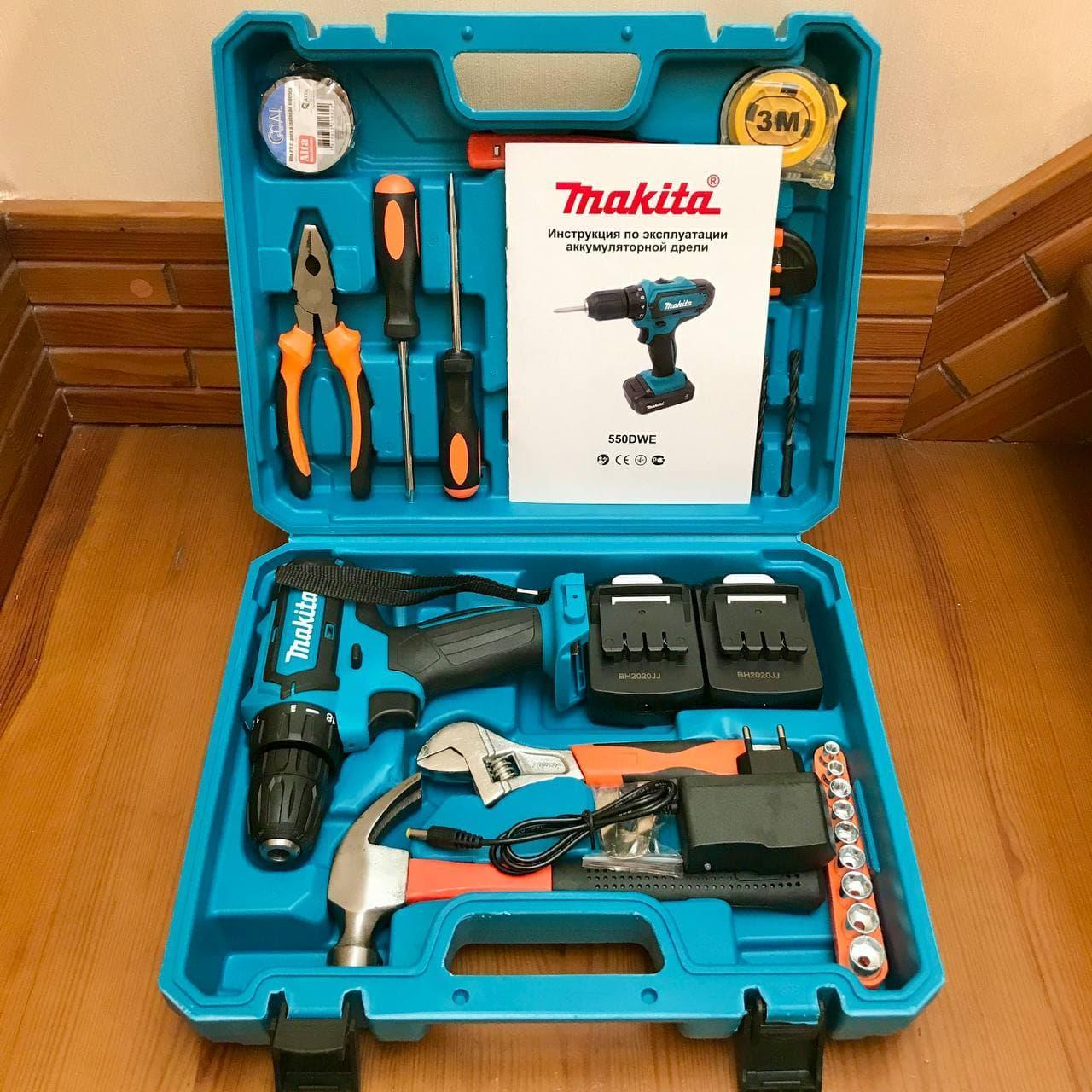 Аккумуляторный шуруповерт Makita 550 DWE (24V, 5 AH) с набором инструментов