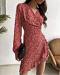 Нежное женское платье в цветочный принт из штапеля ассиметричной длины (Норма), фото 2