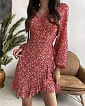 Нежное женское платье в цветочный принт из штапеля ассиметричной длины (Норма), фото 4