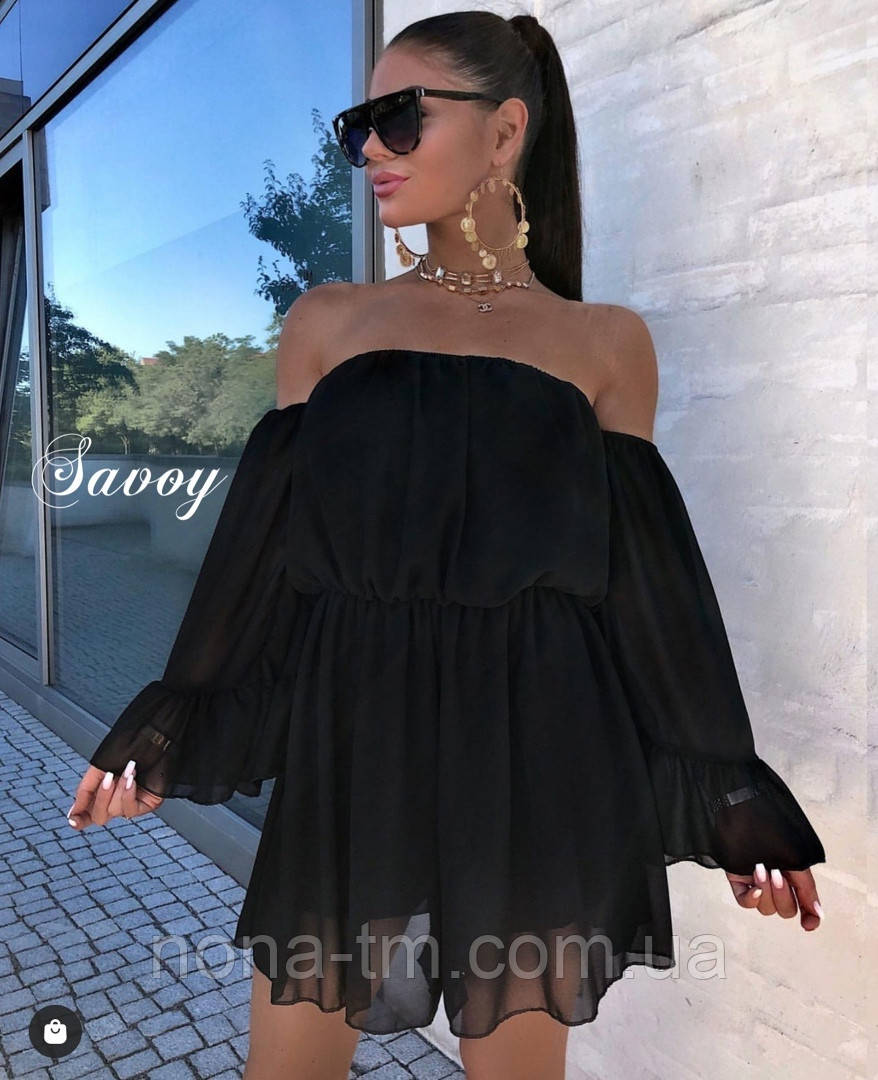 Женское нежное шифоновое платье с открытыми плечами в расцветках (Норма)