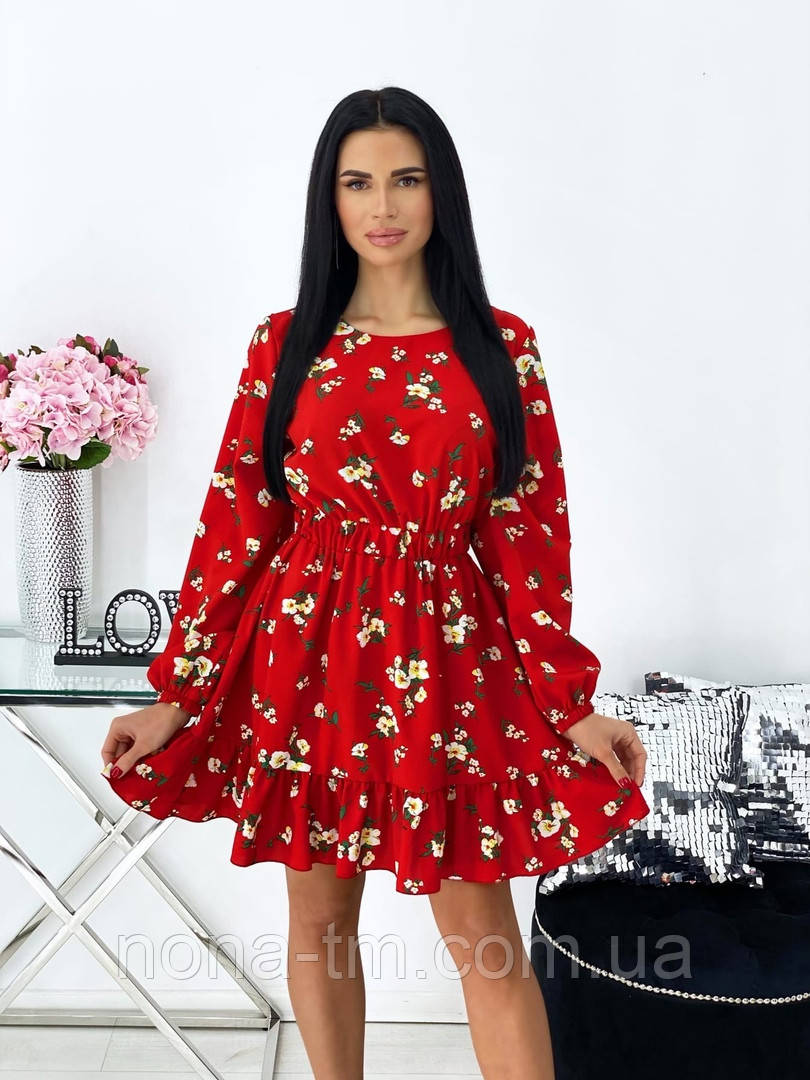 Женское нежное платье в цветочный принт из софта (Норма)