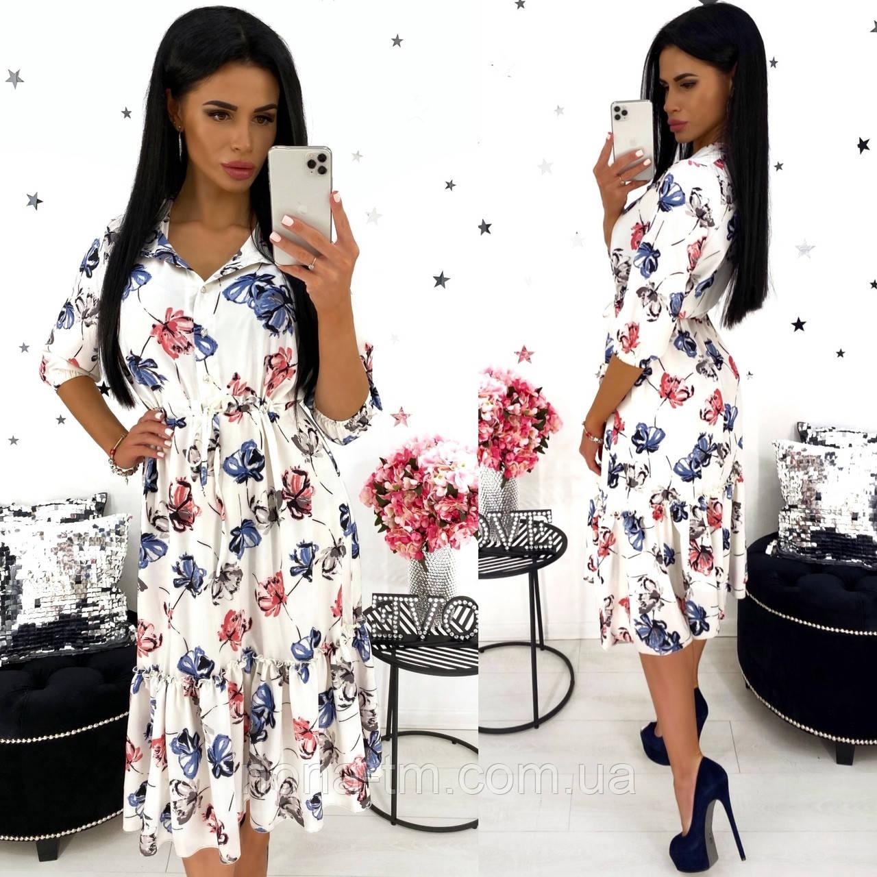 Жіноче видовжене ніжне плаття в квітковий принт з софта (Норма)